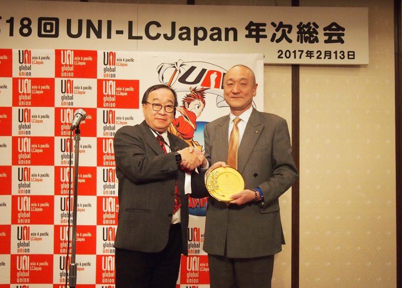 レセプションでは、松浦議長の挨拶に続き、厚生労働省の勝田総括審議官(国際労働担当)、連合の神津会長より連帯挨拶を受けた。ウンUNI  Apro地域書記長は、小俣